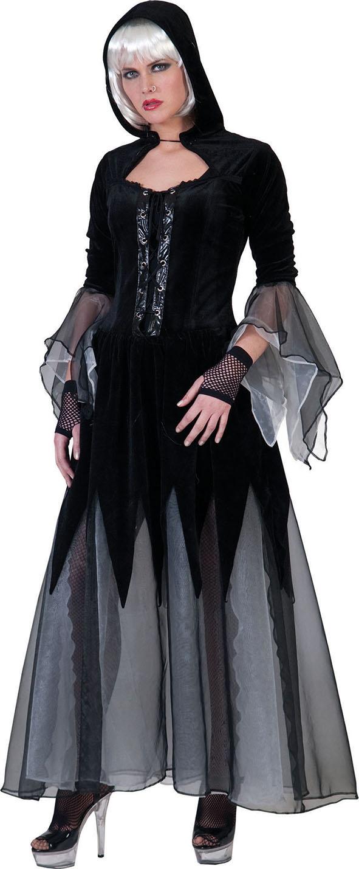 Halloween Kostüm Gothic Lady Hexe Vampirin 42//44 L Mittelalter Kleid mit Kapuze
