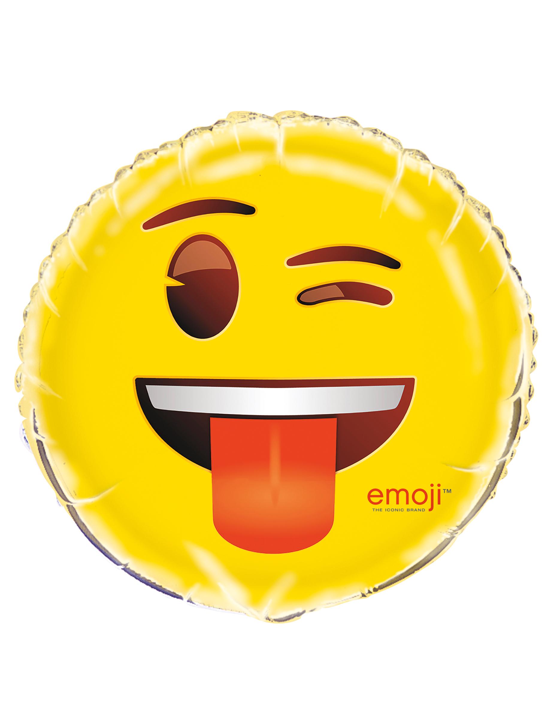 Emoji Aluminiumballon Zwinkerndes Gesicht Gunstige Faschings