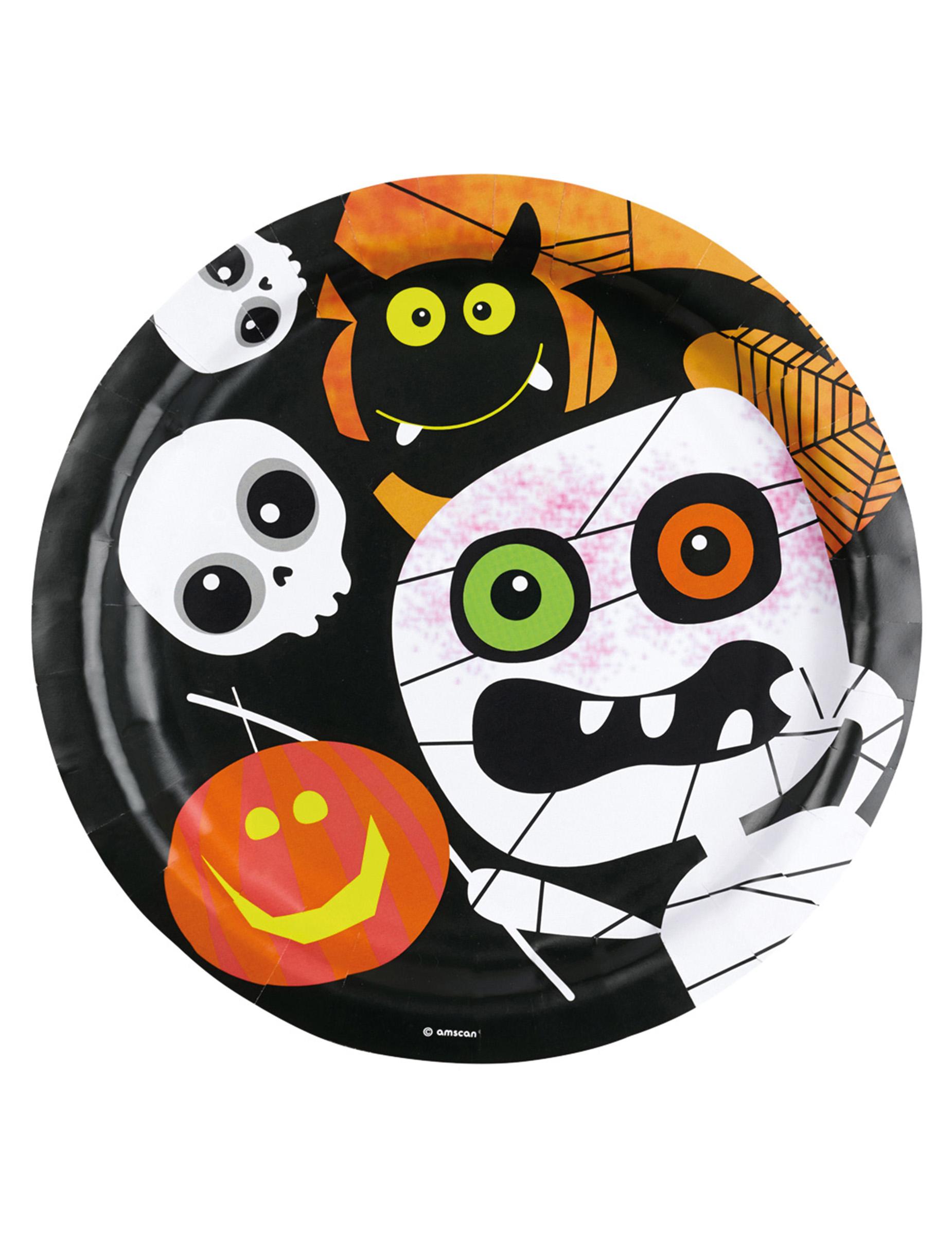 Halloween Teller Kinderhalloween Tischdeko 8 Stuck Schwarz Weiss