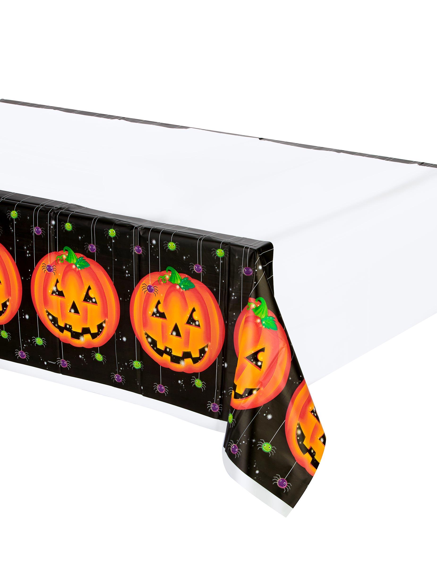 k rbis halloween tischdecke weiss orange schwarz 137x259cm g nstige faschings partydeko. Black Bedroom Furniture Sets. Home Design Ideas