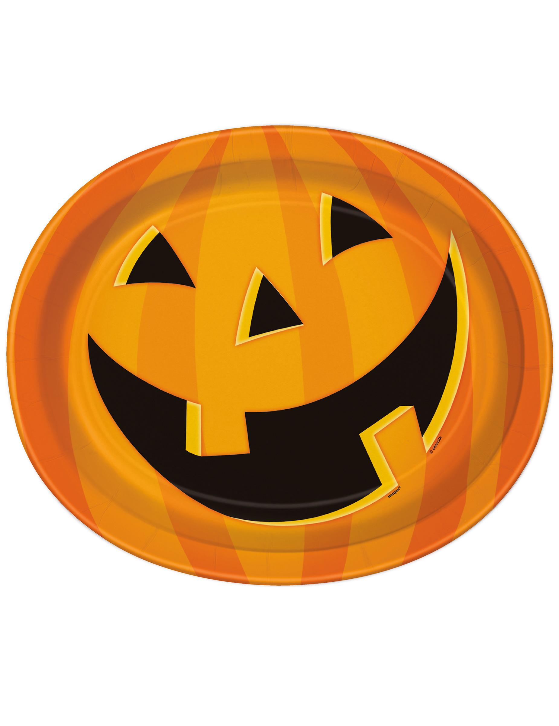 K rbis servierplatten halloween tischdeko 8 st ck orange schwarz 30x25cm g nstige faschings - Tischdeko kurbis ...