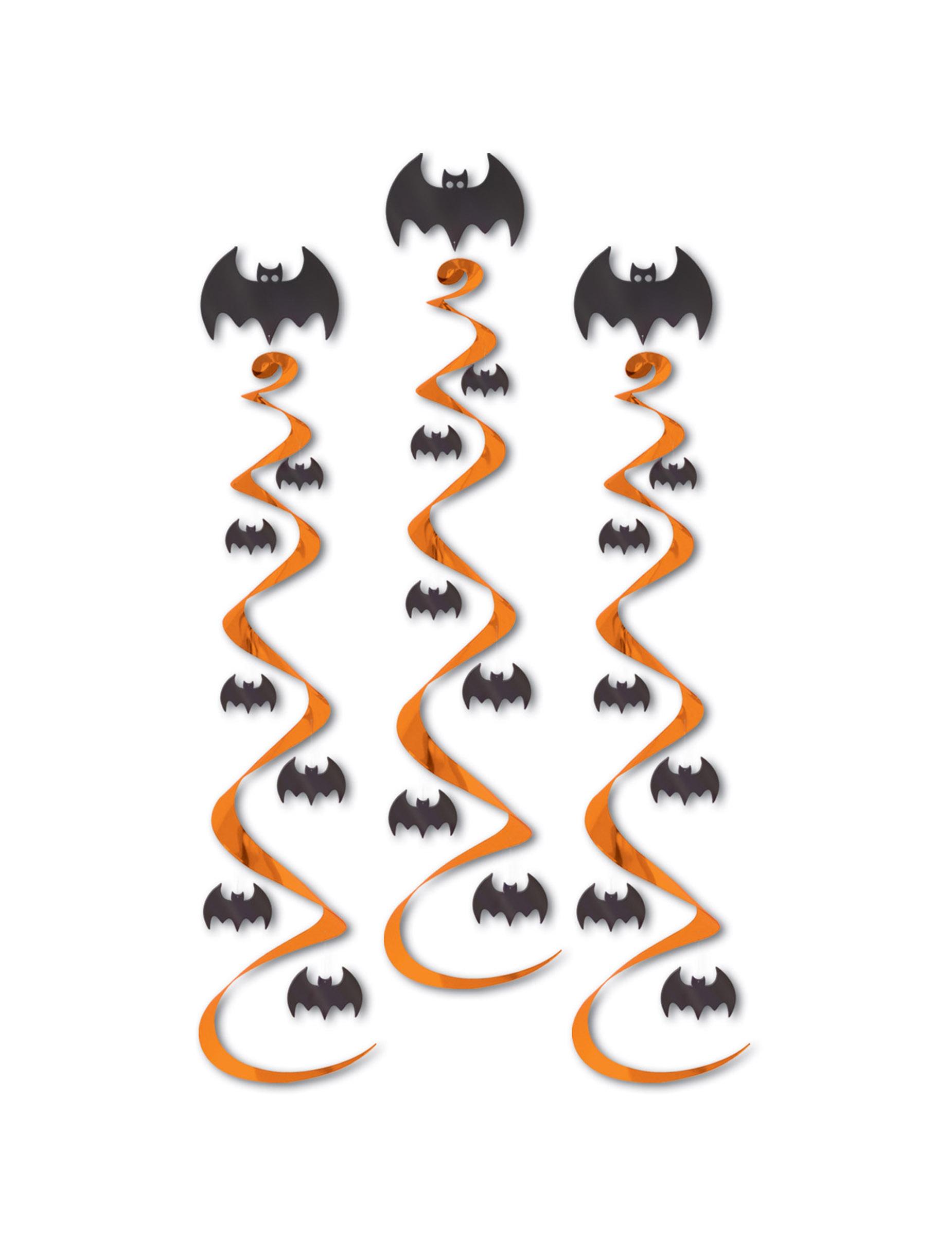 fledermaus h nger halloween party deko 3 st ck orange. Black Bedroom Furniture Sets. Home Design Ideas