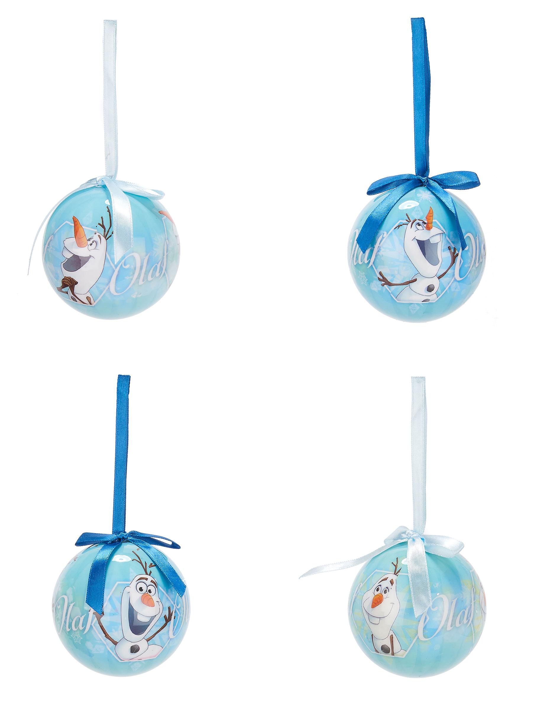 Günstige Christbaumkugeln.Christbaumkugeln Weihnachten Lizenzware Die Eiskönigin Olaf 4 Stück Blau Weiss