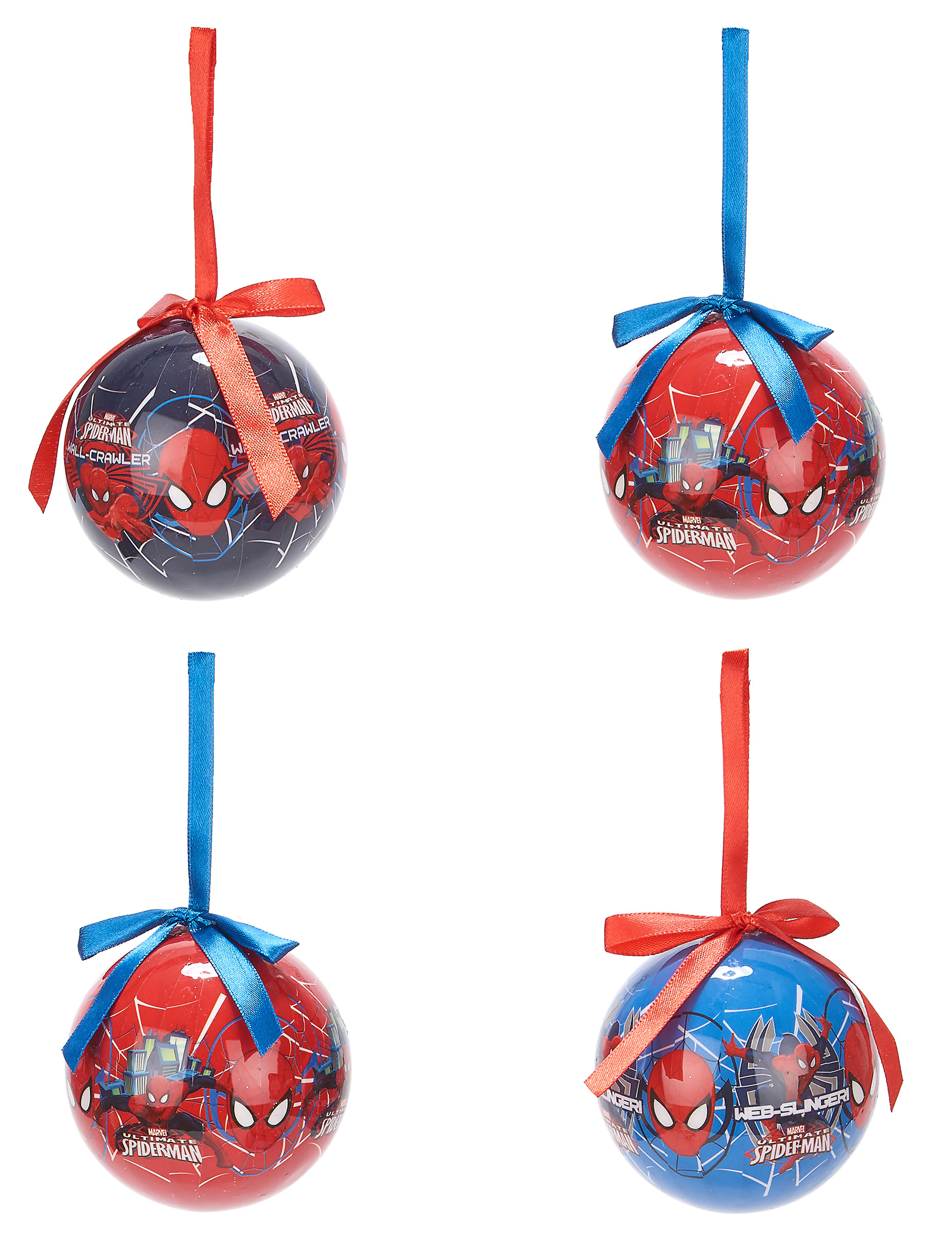 Günstige Christbaumkugeln.Christbaumkugeln Weihnachten Lizenzware Spiderman 4 Stück Rot Blau