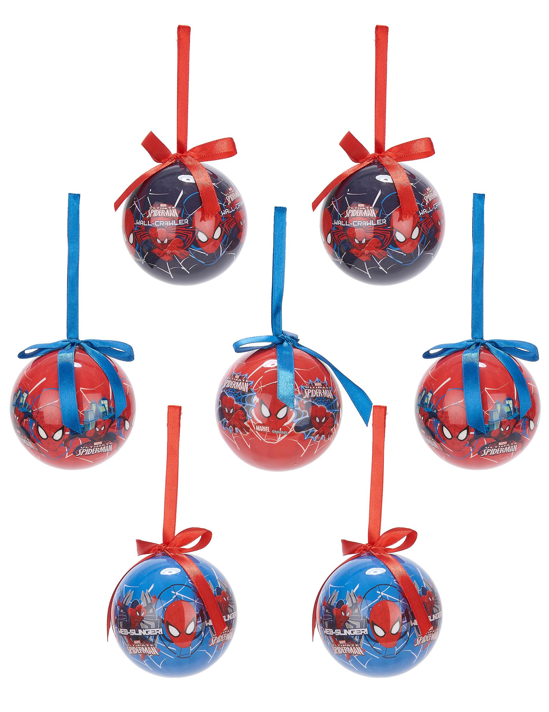 Günstige Christbaumkugeln.Christbaumkugeln Weihnachten Lizenzartikel Spiderman 7 Teilig Blau Rot