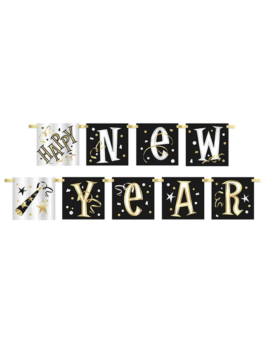 silvester girlande happy new year schwarz weiss gold 1 5m. Black Bedroom Furniture Sets. Home Design Ideas