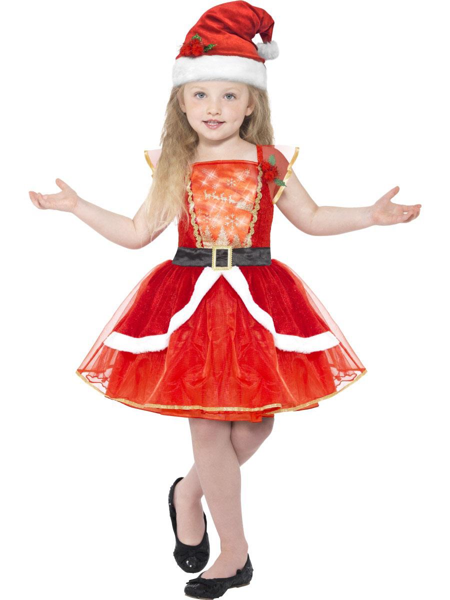 8bf4e966fa34f Leuchtendes Weihnachtsfrau-Kostüm für Mädchen rot