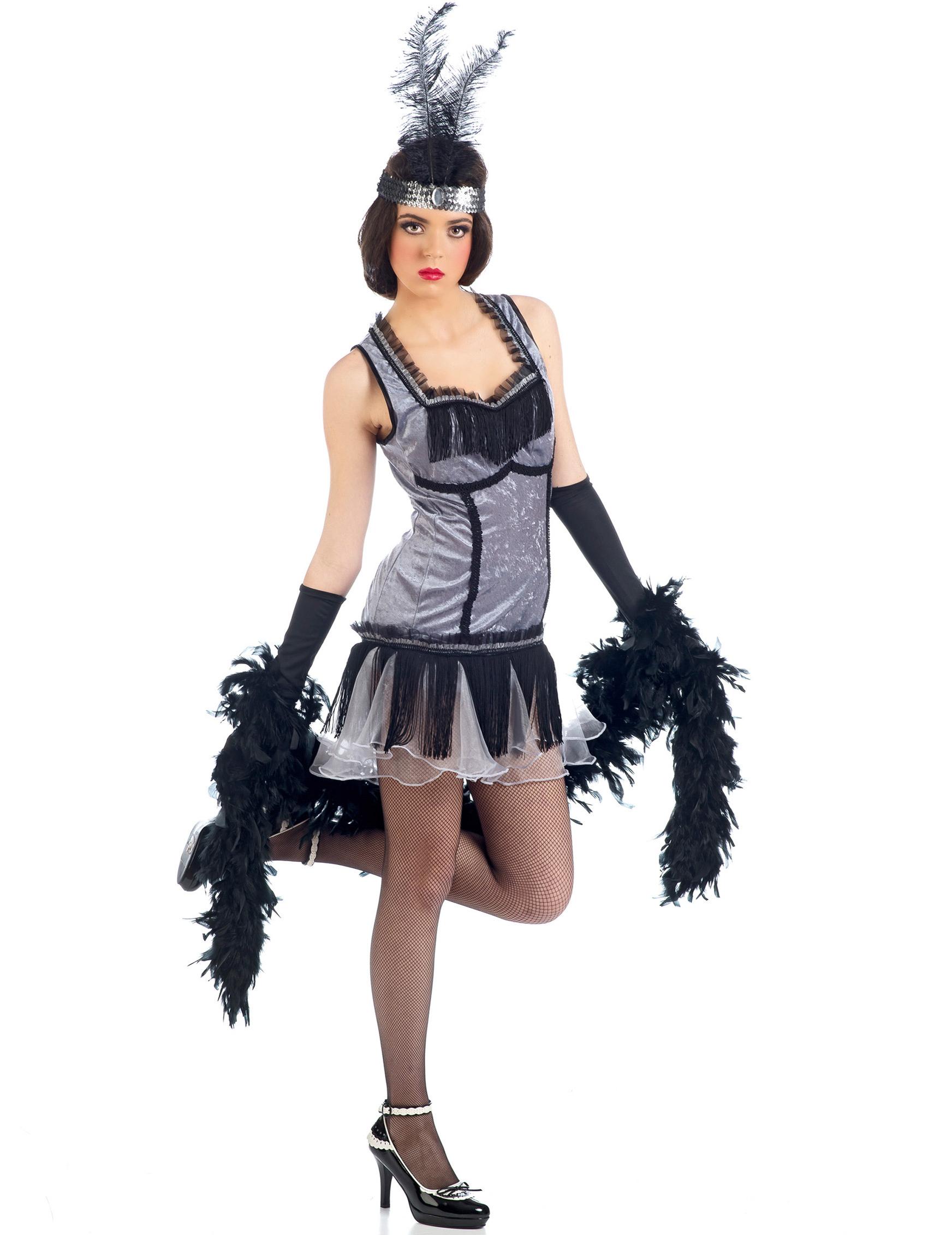 charleston kost m damen grau g nstige faschings kost me bei karneval megastore. Black Bedroom Furniture Sets. Home Design Ideas