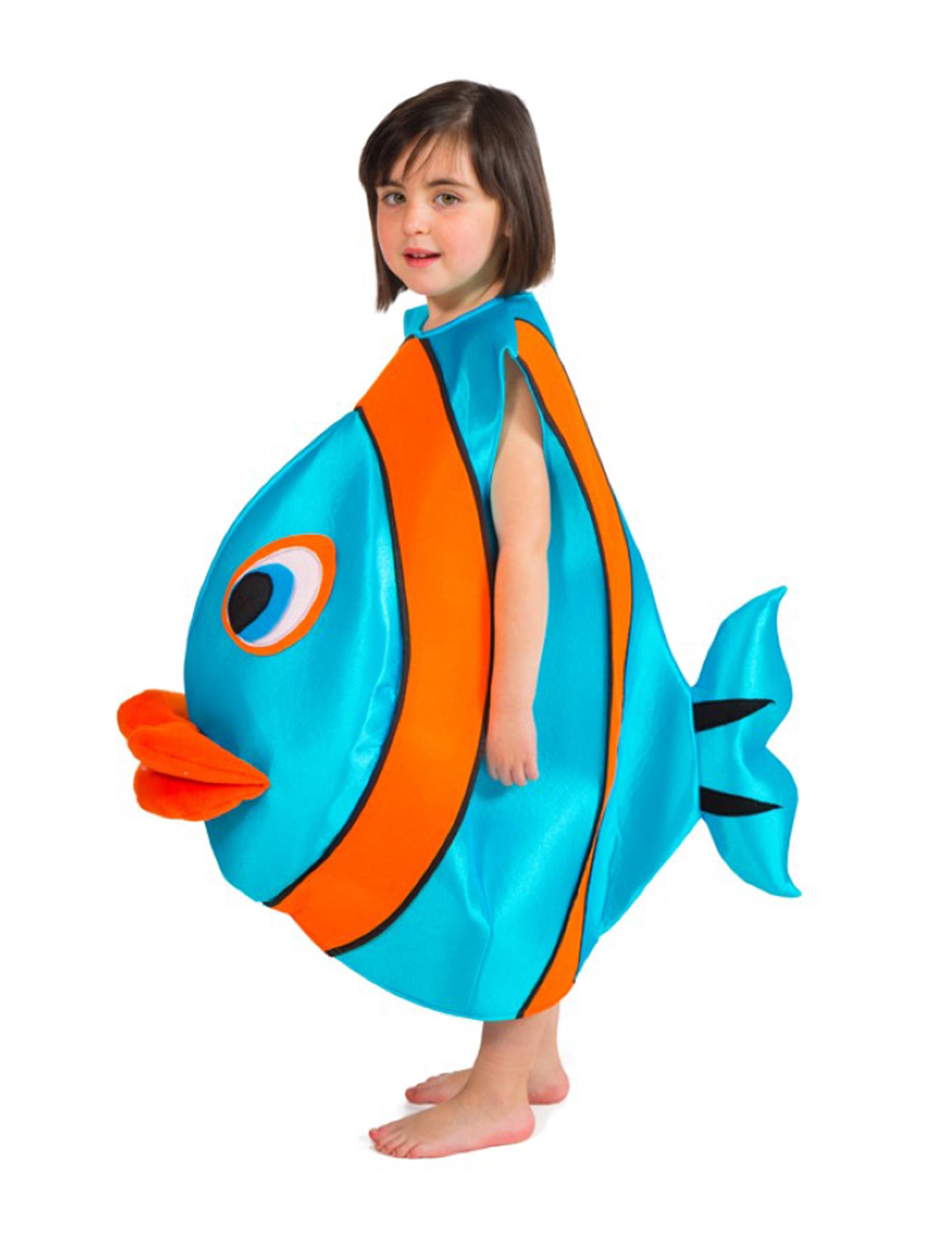 Lustiges Fisch Kostum Fur Kinder Blau Orange Gunstige Faschings