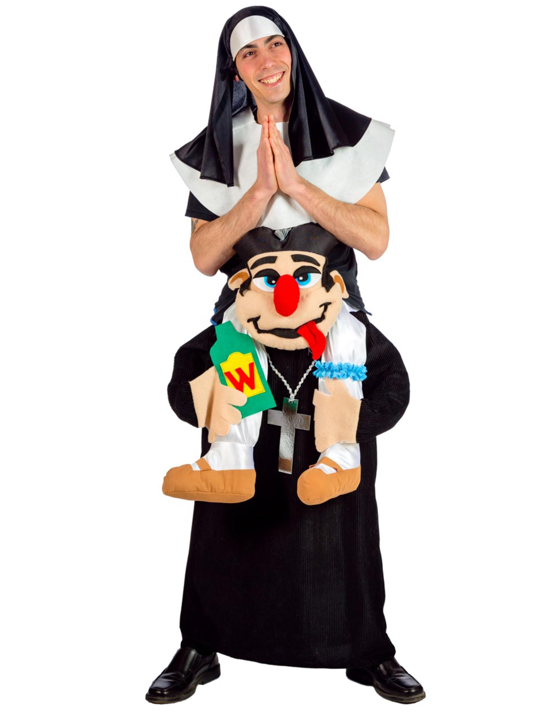 Huckepack Nonne Und Pfarrer Kostum Fur Erwachsene Bunt Gunstige