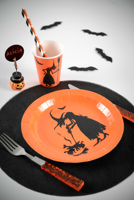 halloween pappbecher hexen becher 10 st ck orange schwarz. Black Bedroom Furniture Sets. Home Design Ideas