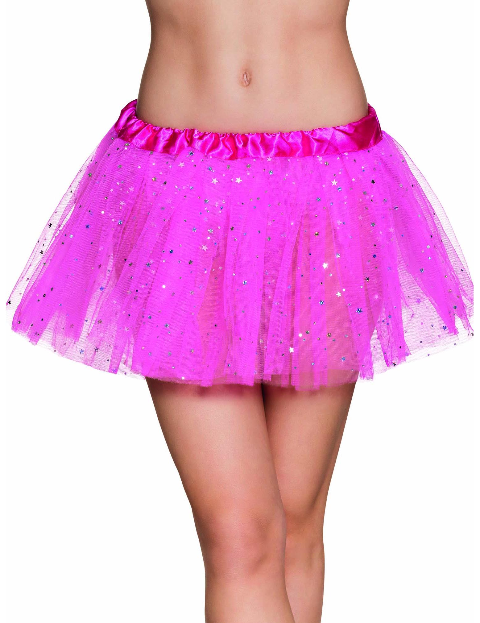 7f08b1aa58cd Süßer Tüllrock Fee Tutu mit Sternchen für Damen pink-silber
