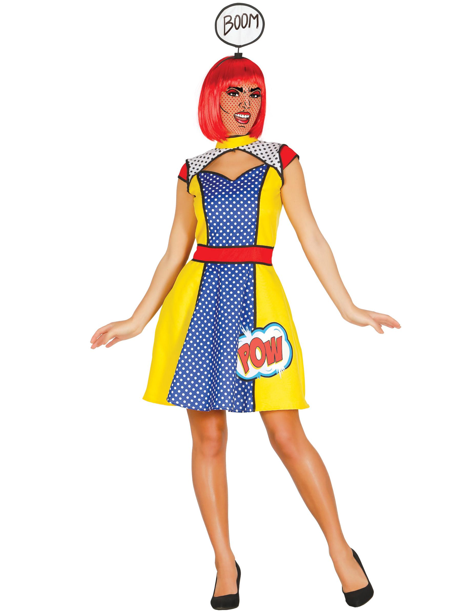 Pop Art Comic Kostum Damen Blau Gelb Gunstige Faschings Kostume