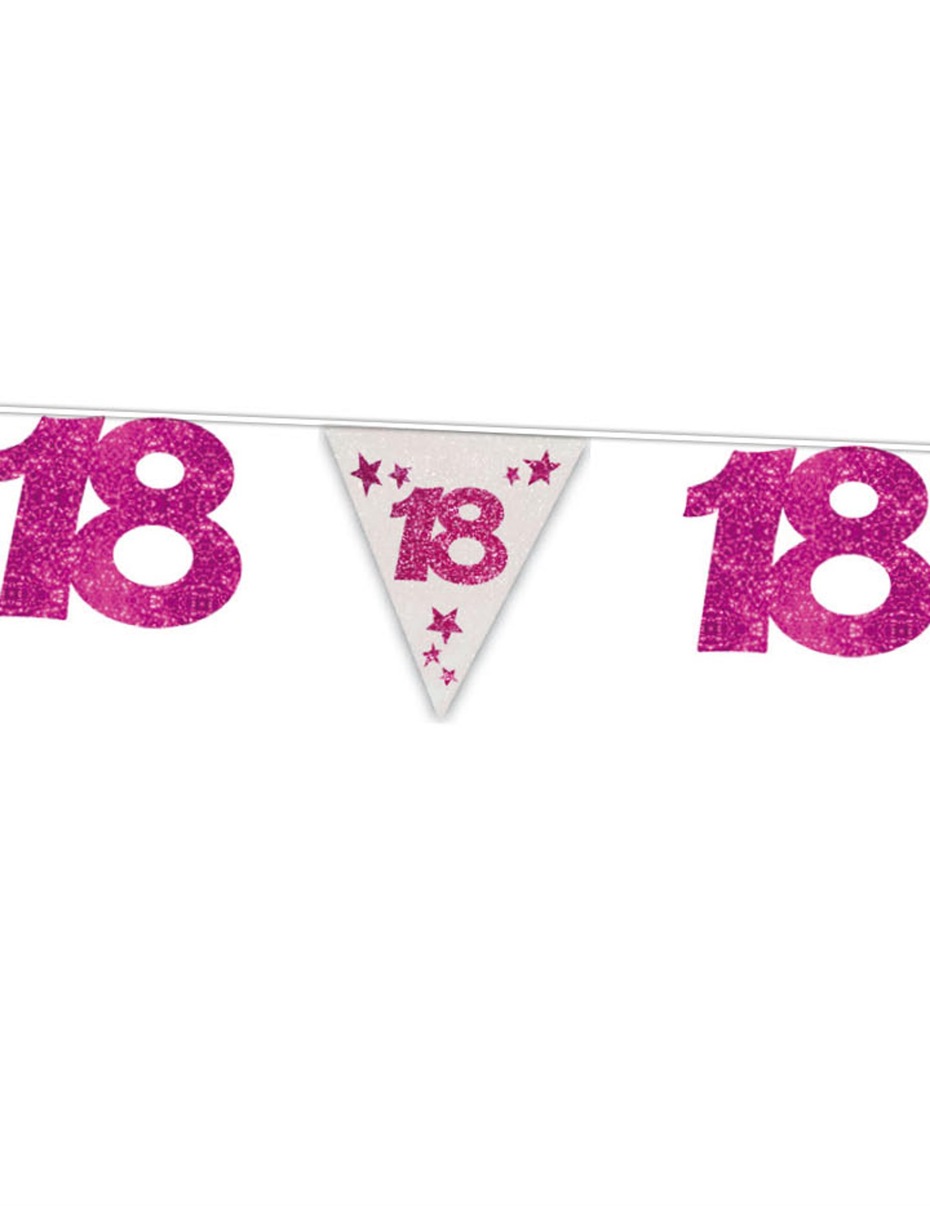 glitzernde girlande 18 geburtstag rosa g nstige faschings partydeko zubeh r bei karneval. Black Bedroom Furniture Sets. Home Design Ideas