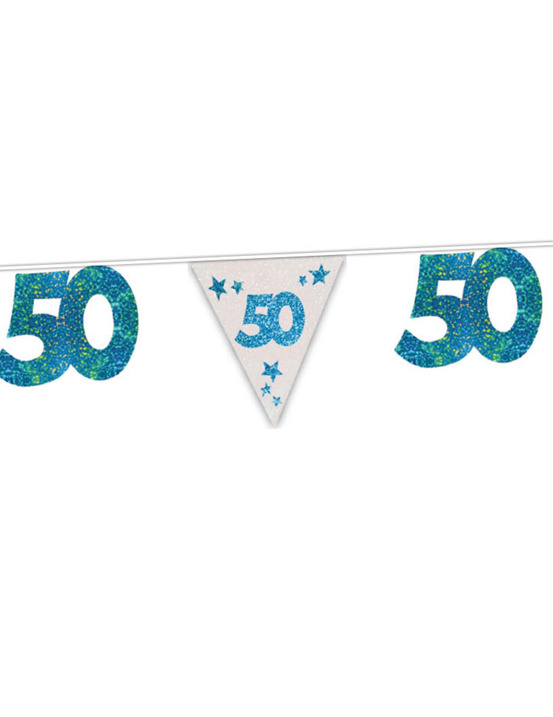 50 geburtstag girlande party deko blau 6m g nstige faschings partydeko zubeh r bei karneval. Black Bedroom Furniture Sets. Home Design Ideas