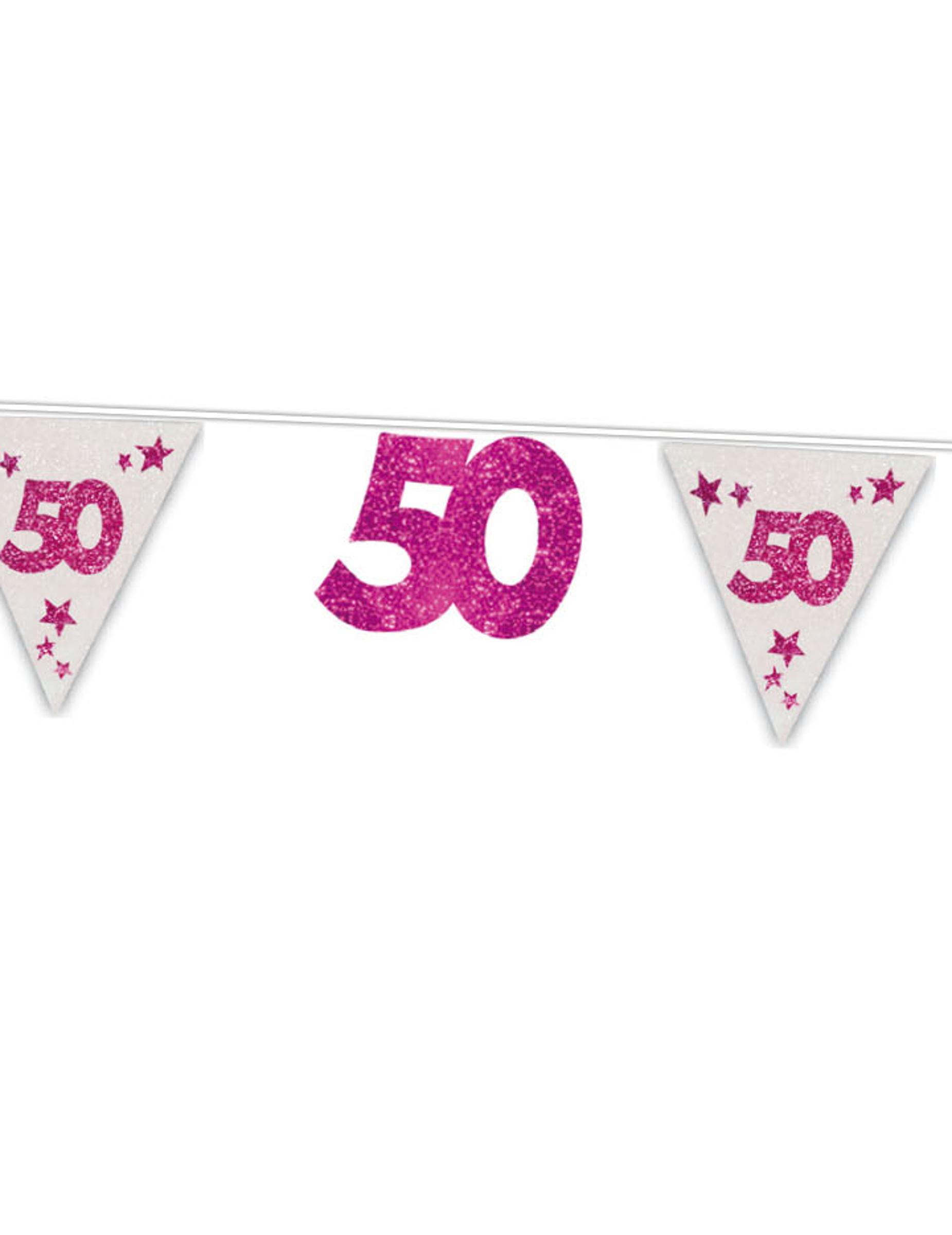 50 geburtstag girlande party deko pink 6m g nstige faschings partydeko zubeh r bei karneval. Black Bedroom Furniture Sets. Home Design Ideas
