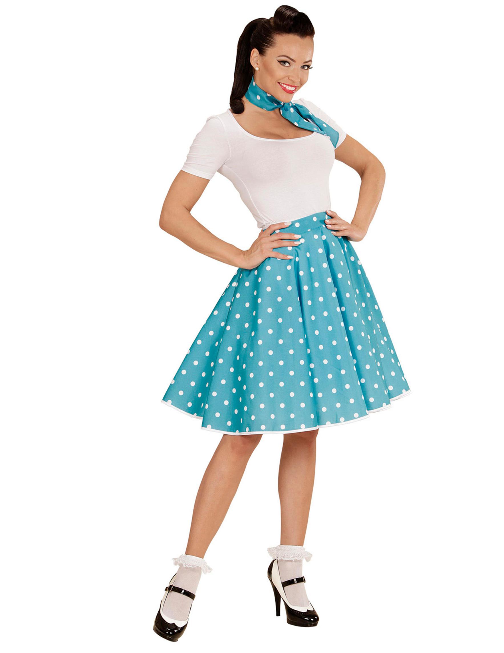 ec421f399bbc 50er Jahre Petticoat-Rock und Halstuch Dots blau-weiss