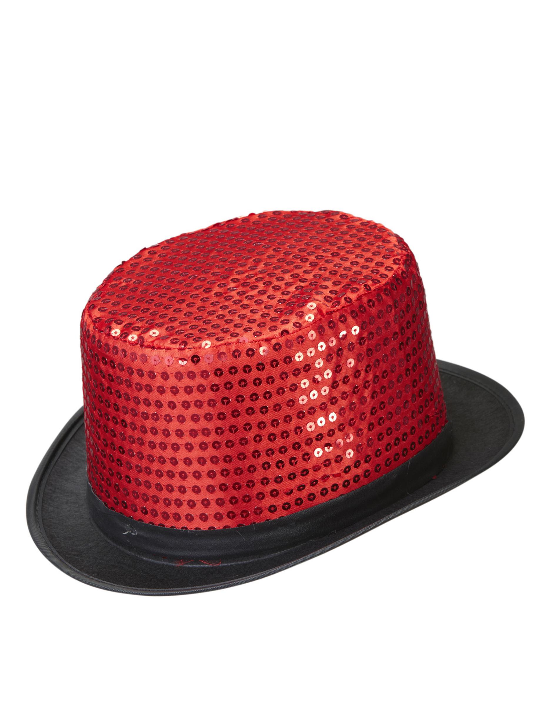 Pailletten Zylinder Party Hut Rot Gunstige Faschings Accessoires