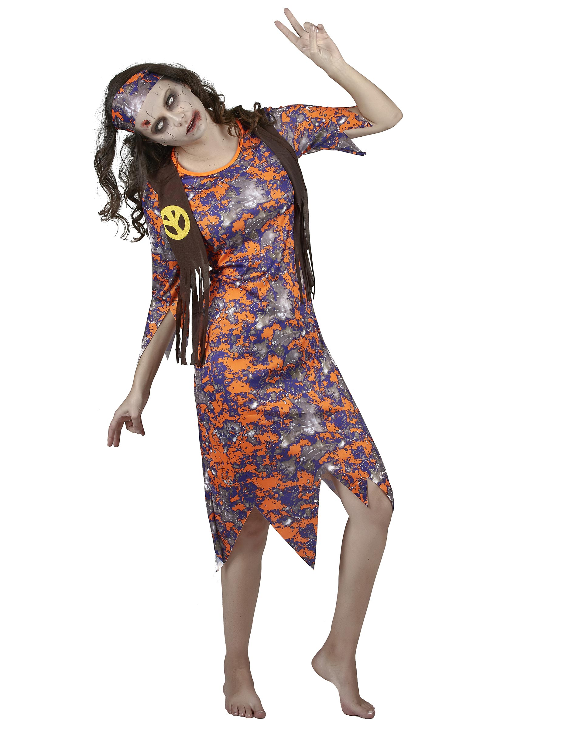 zombie hippie damenkost m halloween bunt g nstige faschings kost me bei karneval megastore. Black Bedroom Furniture Sets. Home Design Ideas