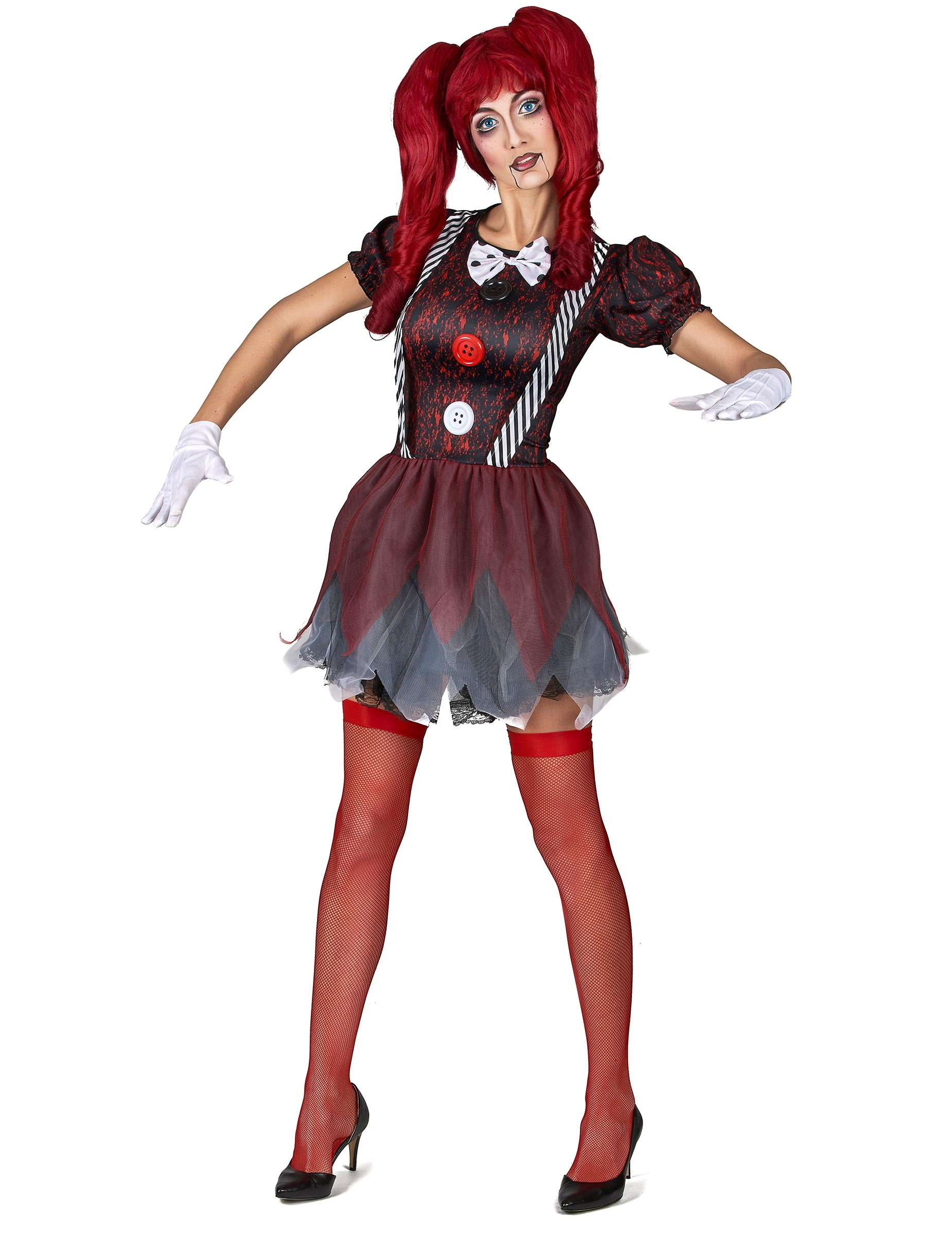 horror puppe damen kost m rot schwarz weiss g nstige faschings kost me bei karneval megastore. Black Bedroom Furniture Sets. Home Design Ideas