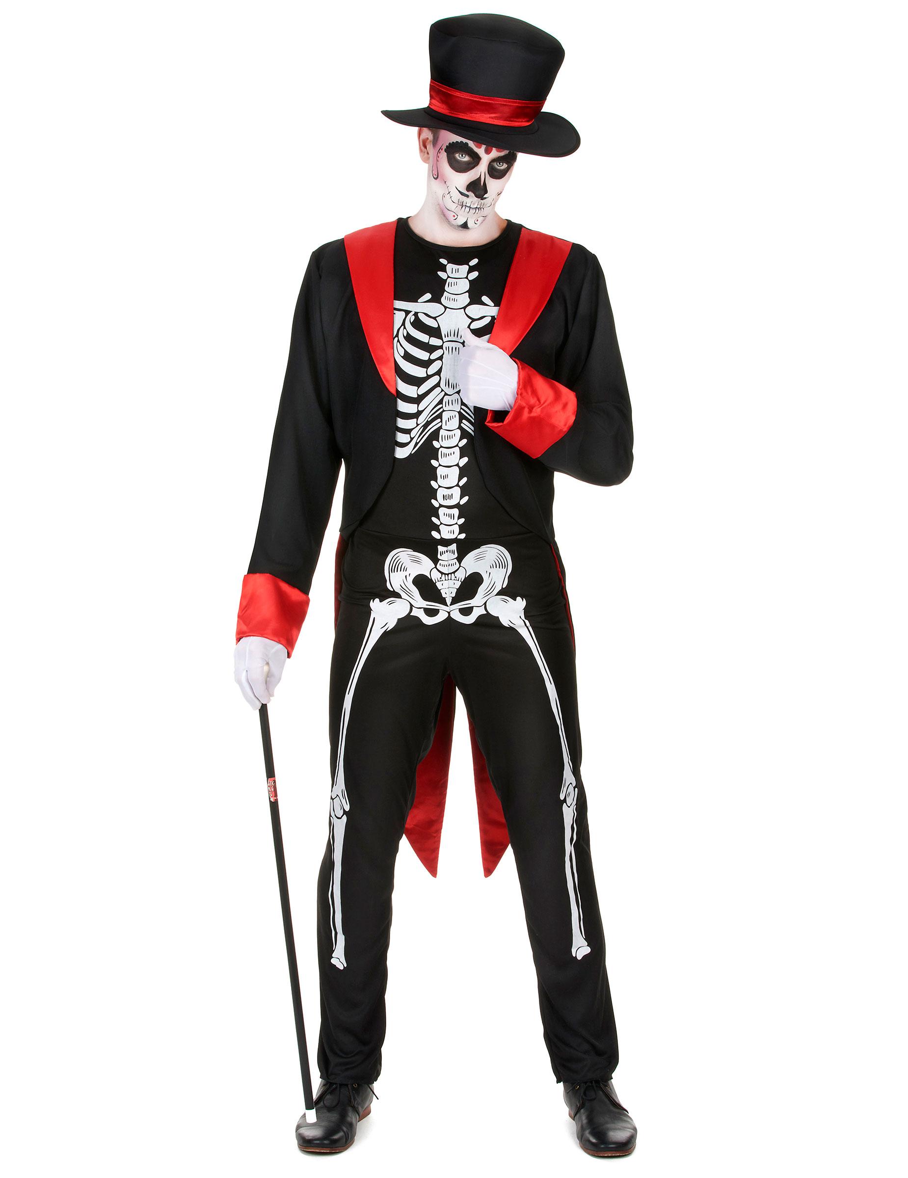 schickes skelett herren kost m schwarz rot weiss. Black Bedroom Furniture Sets. Home Design Ideas