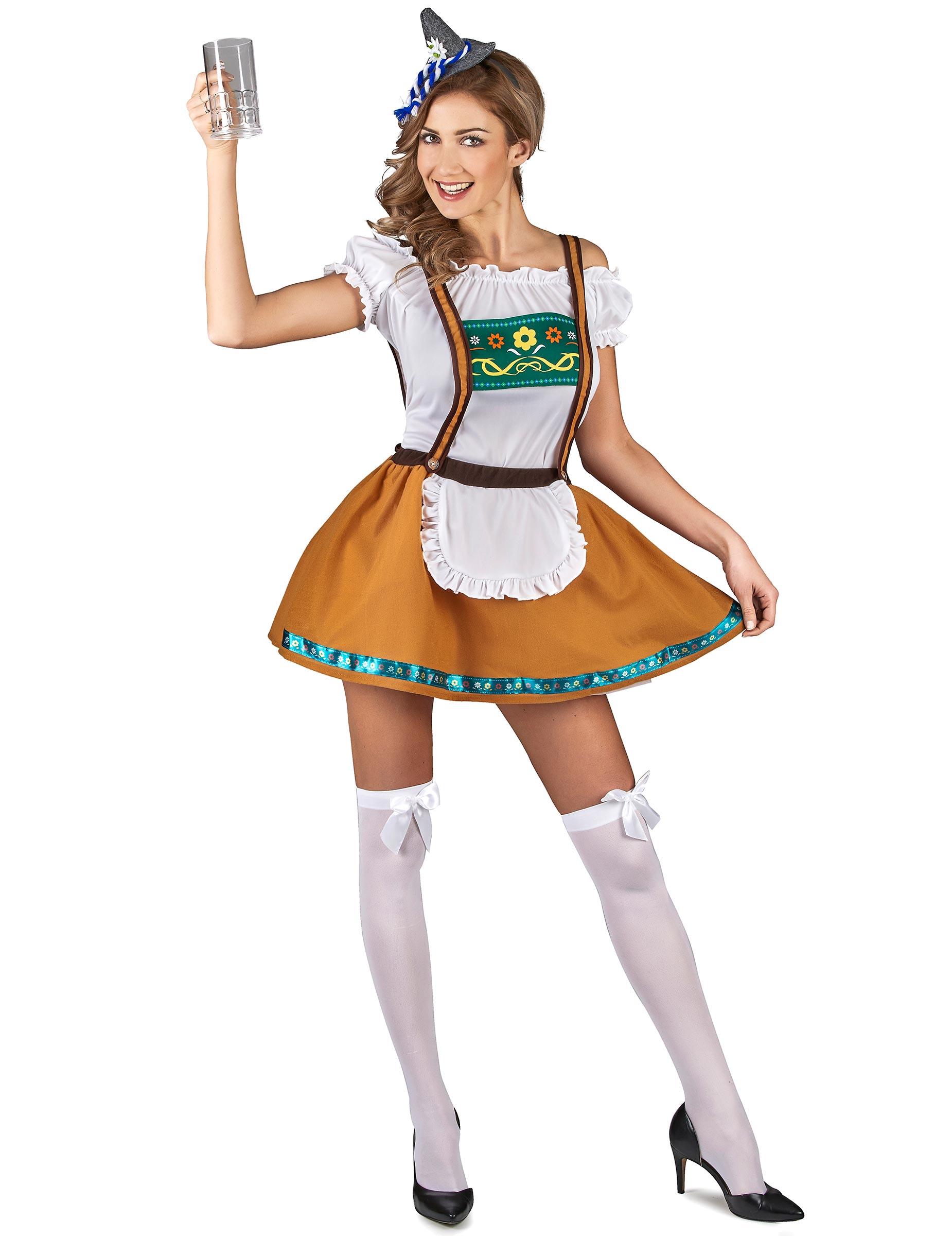 d9031951029941 Süsses Bayerisches Dirndl Kostüm für Damen braun-weiss-grün ...