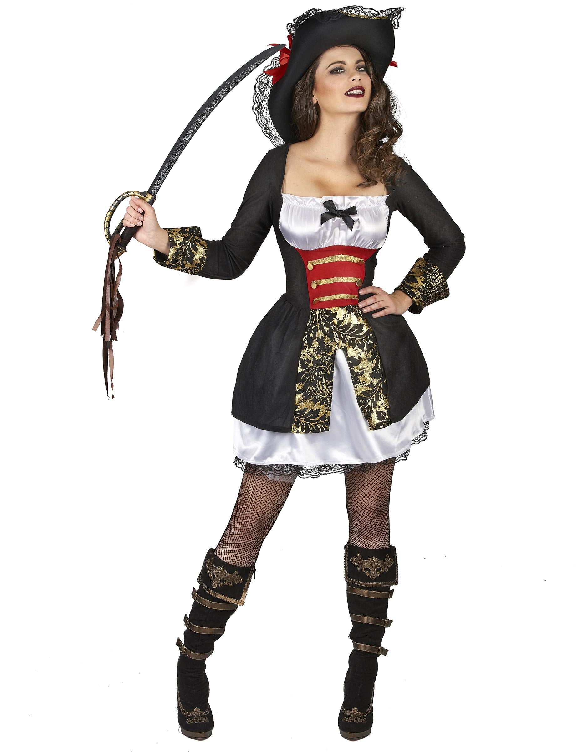 elegante korsaren damen verkleidung schwarz wei g nstige faschings kost me bei karneval megastore. Black Bedroom Furniture Sets. Home Design Ideas