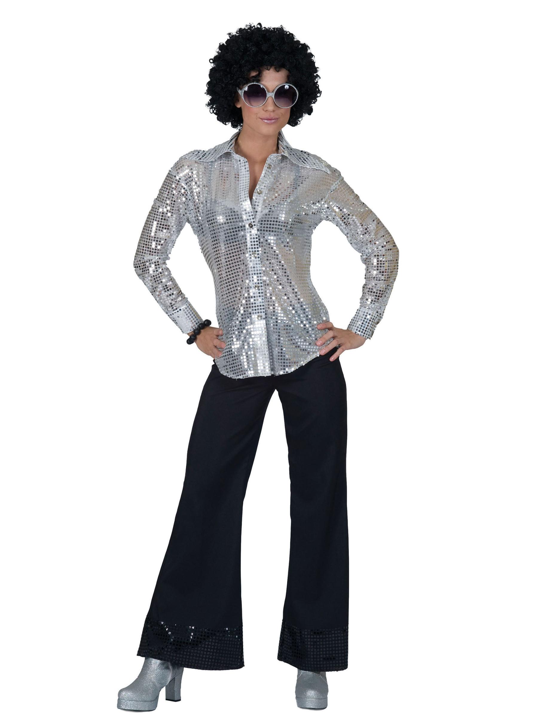 damen disco hemd mit pailletten silber g nstige faschings kost me bei karneval megastore. Black Bedroom Furniture Sets. Home Design Ideas