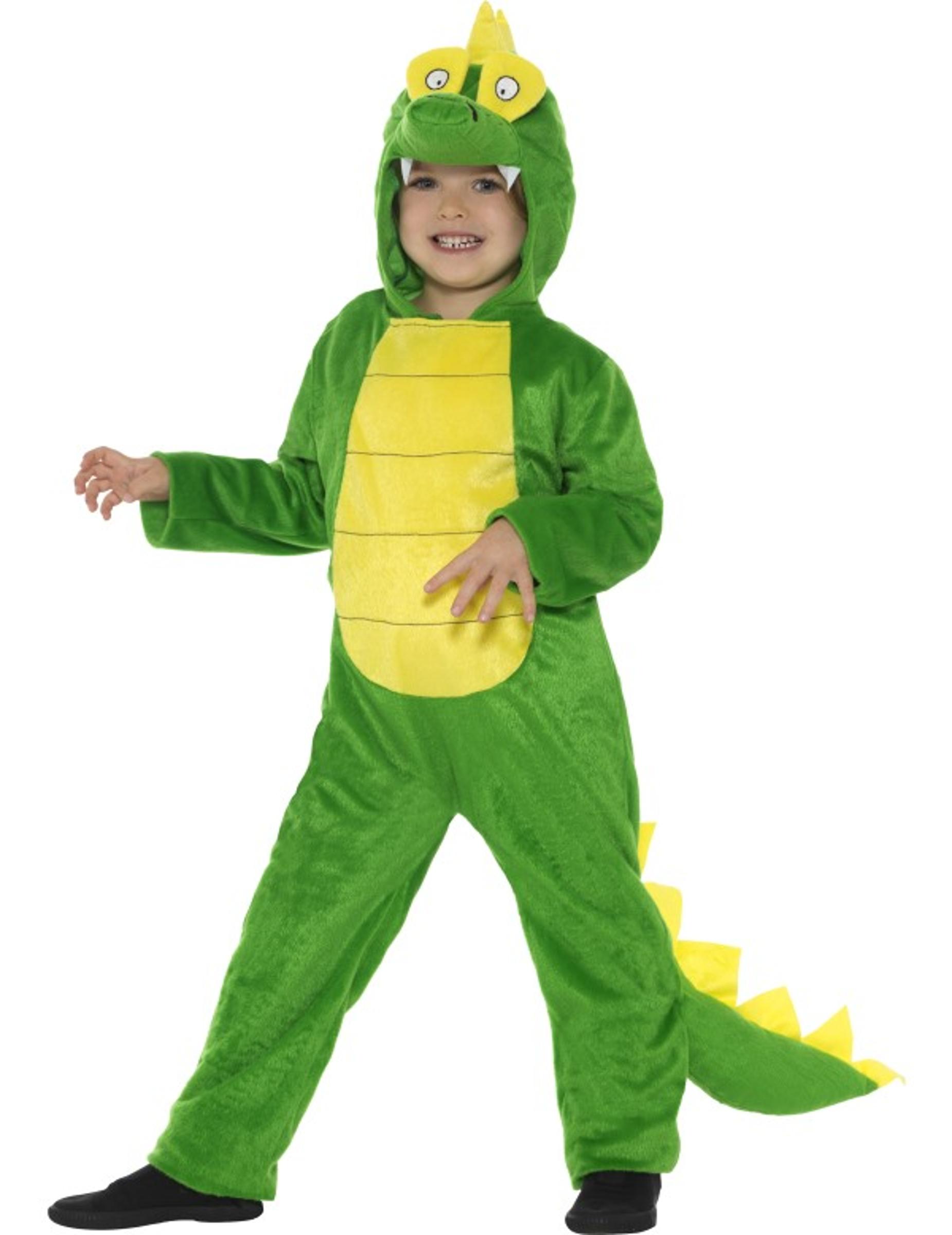Drachen Kinderkostum Dinosaurier Grun Gelb Gunstige Faschings