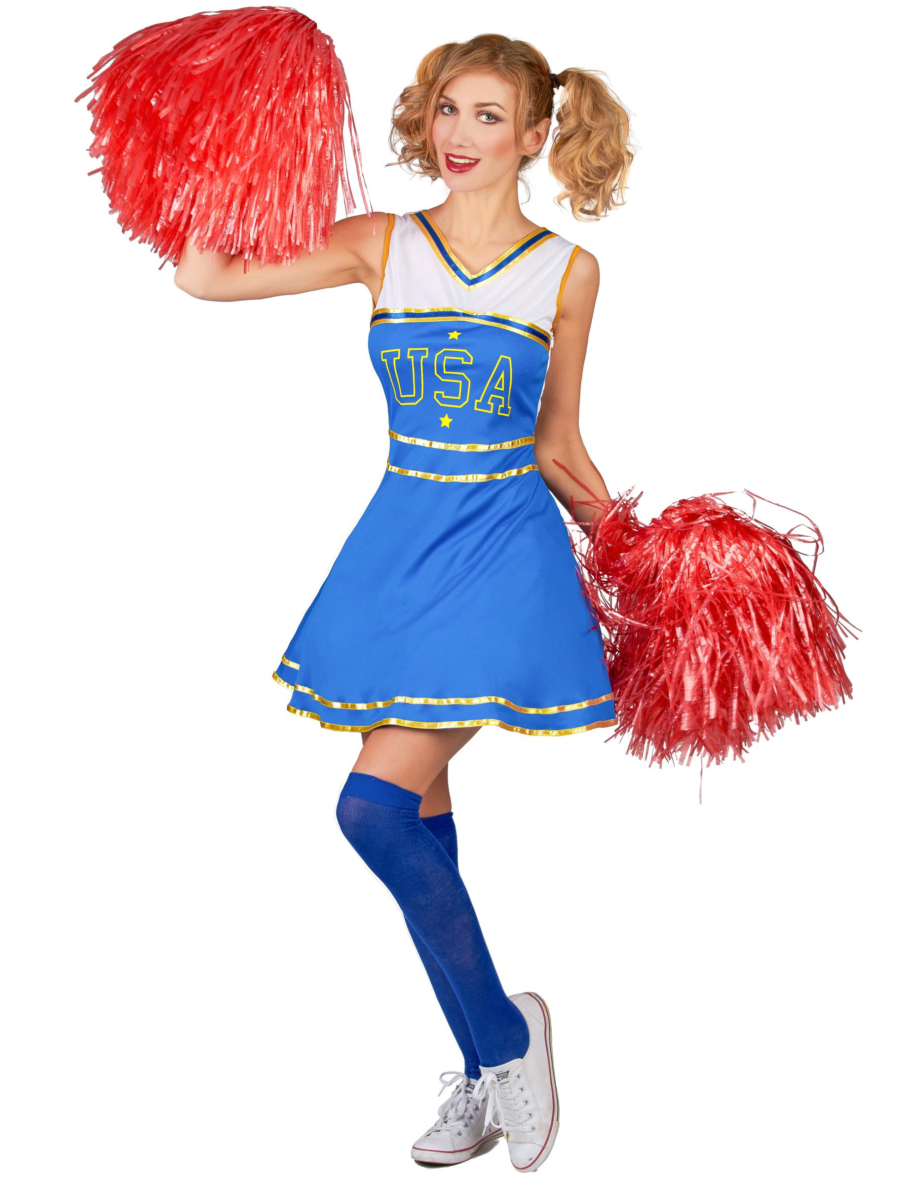 Klassisches Usa Cheerleader Damenkostum Blau Weiss Gunstige
