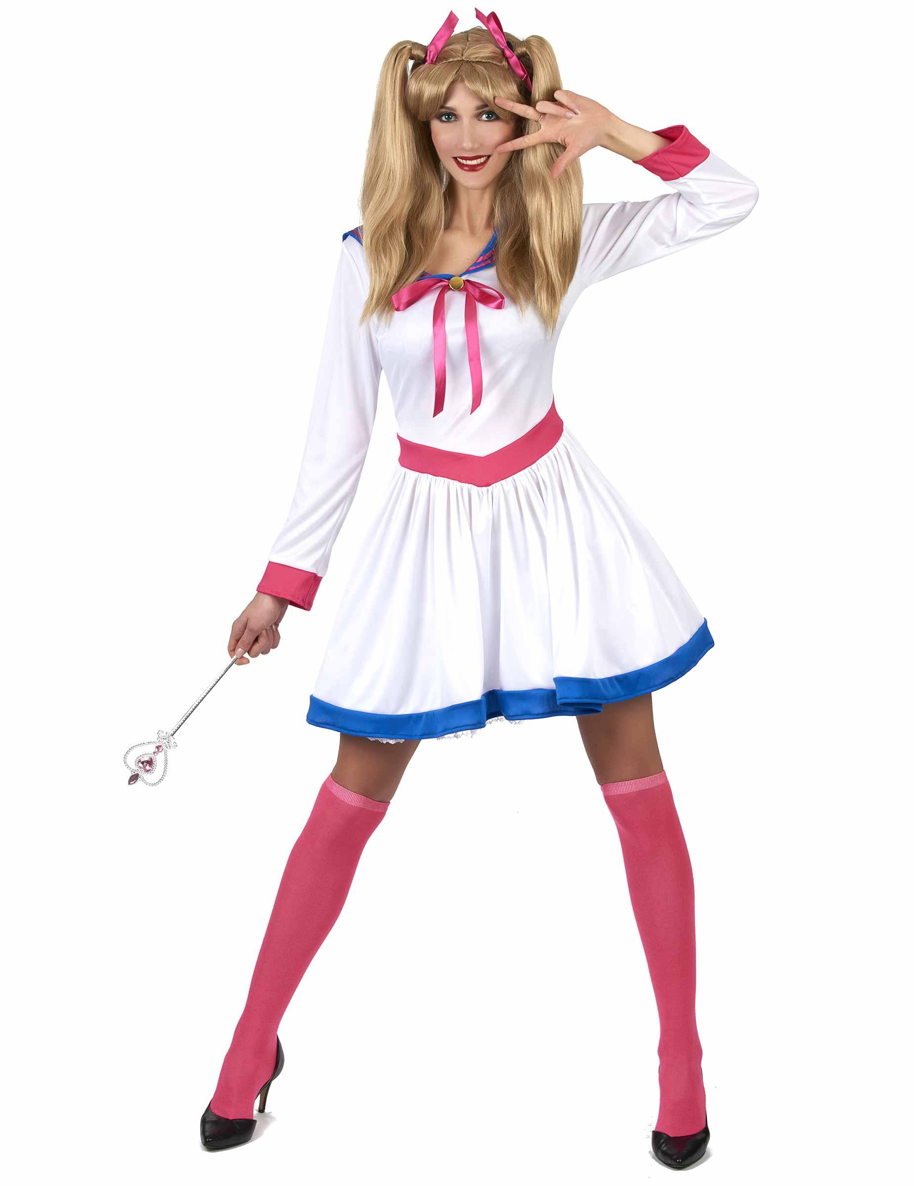 Comic Heldin Damenkostum Mangakostum Weiss Pink Blau Gunstige