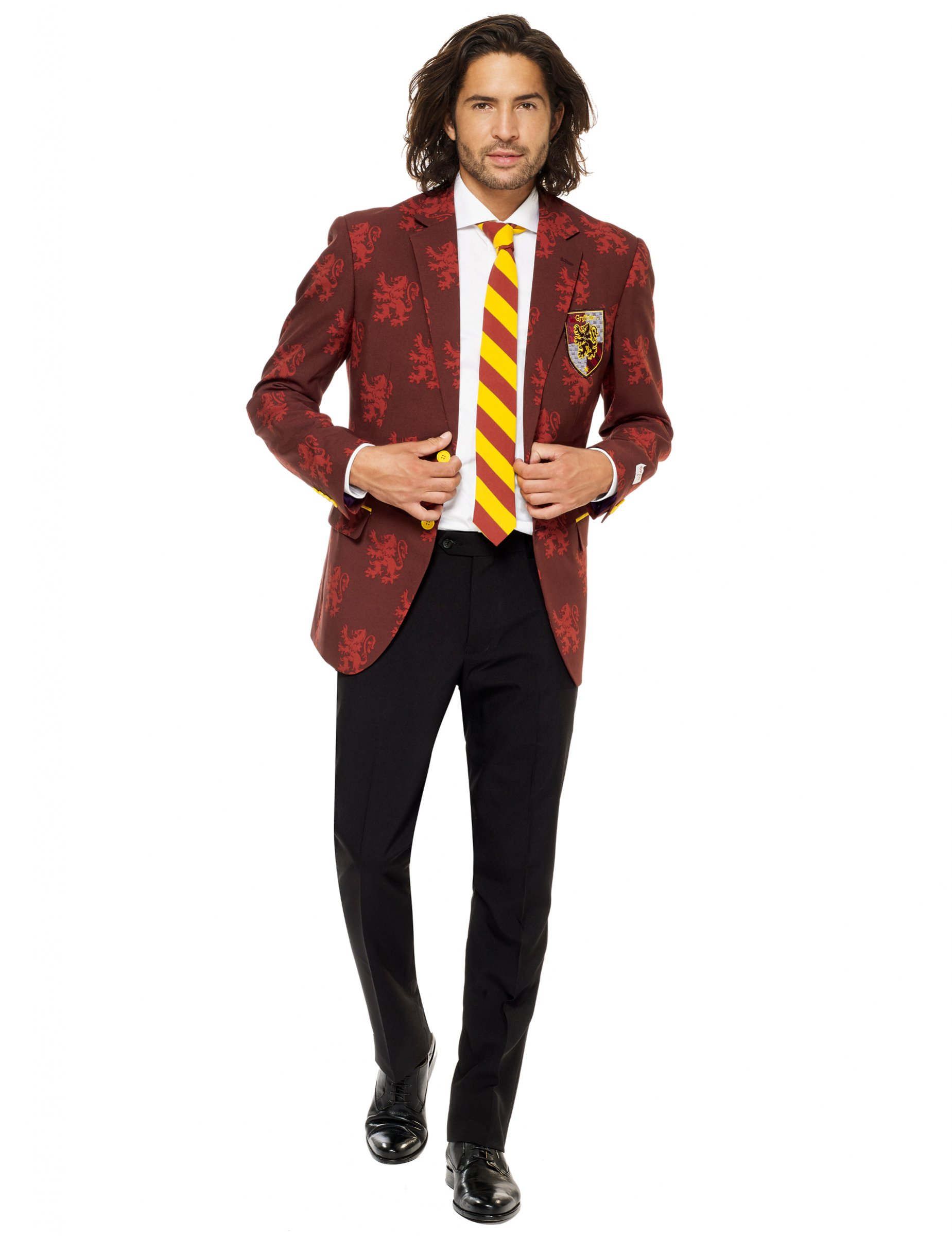 opposuits harry potter anzug f r herren halloween rot gelb schwarz g nstige faschings. Black Bedroom Furniture Sets. Home Design Ideas