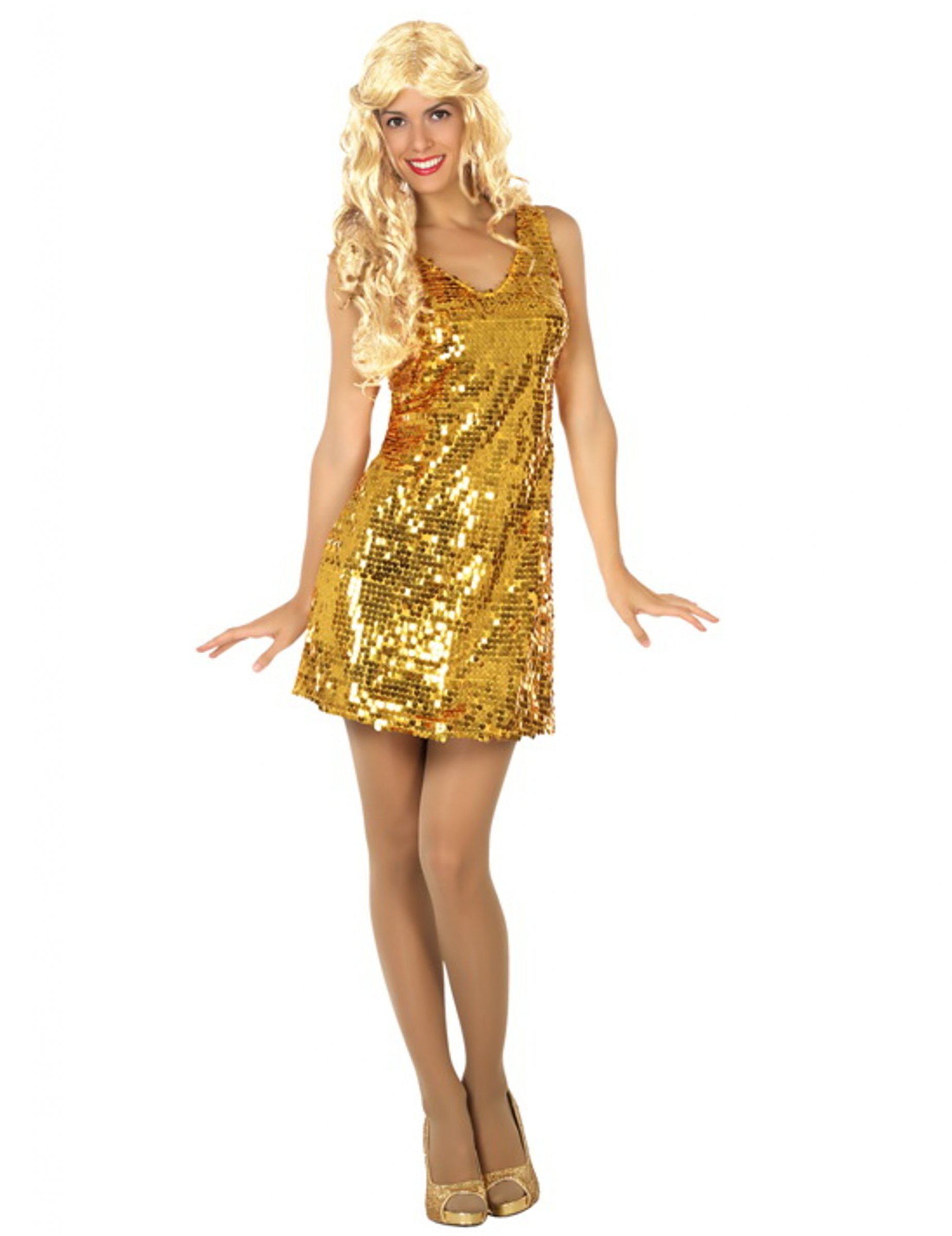 Disco Pailletten Kleid für Damen gold
