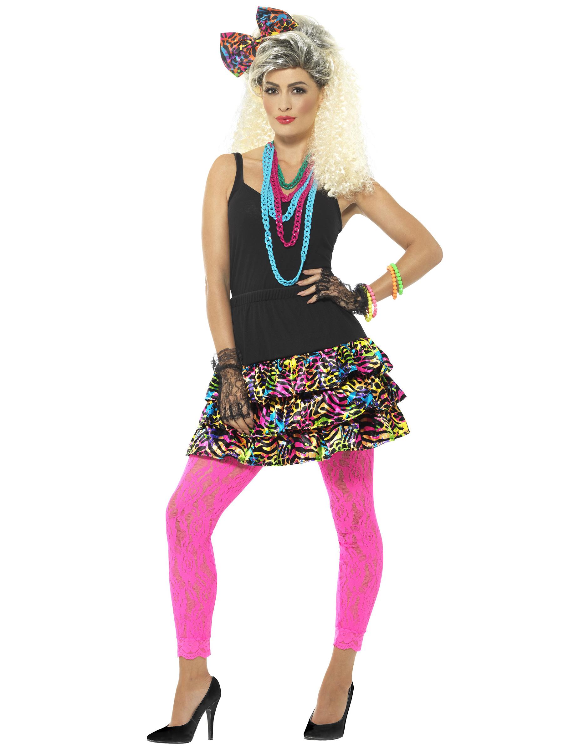 80er Jahre Leopardenmuster Neon Bunt Bekleidungsset Damen Gunstige