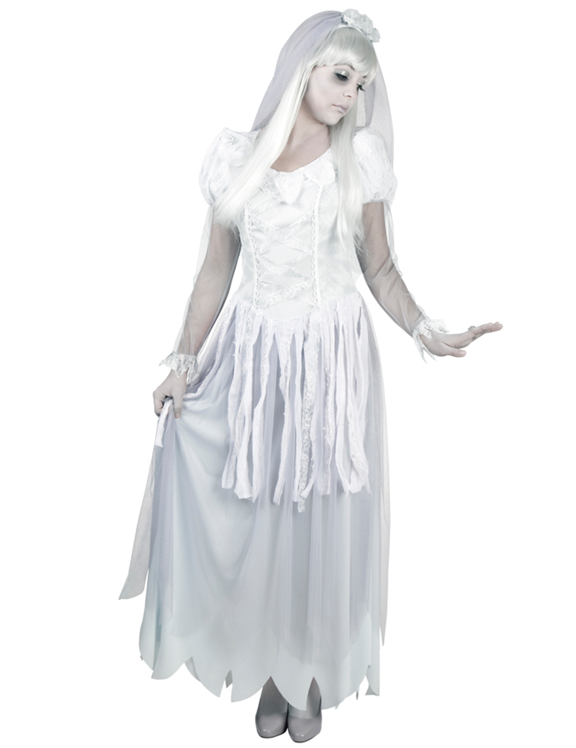Schöne Geisterbraut Halloween Damenkostüm weiss