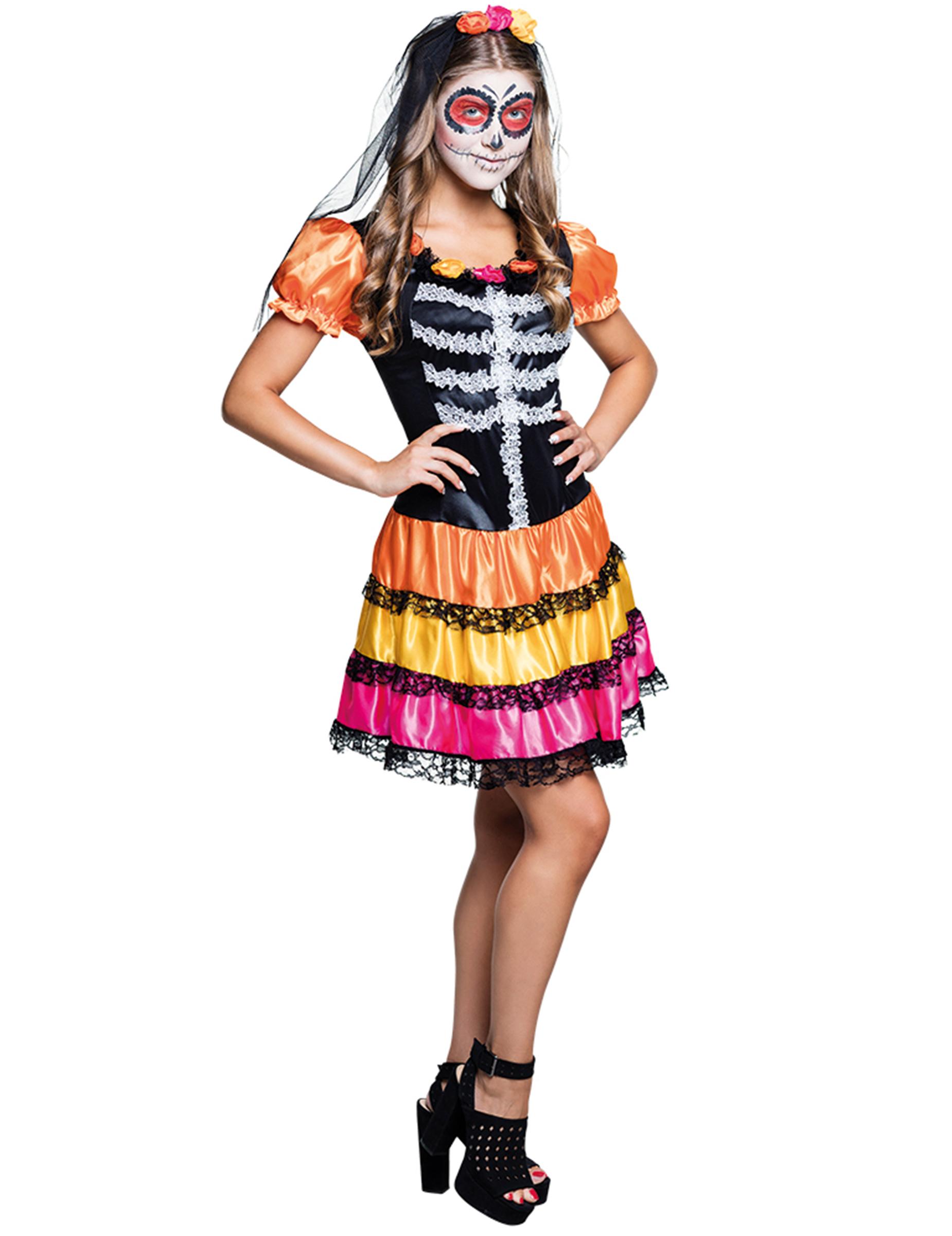 dia de los muertos teenager-kostüm skelett , günstige