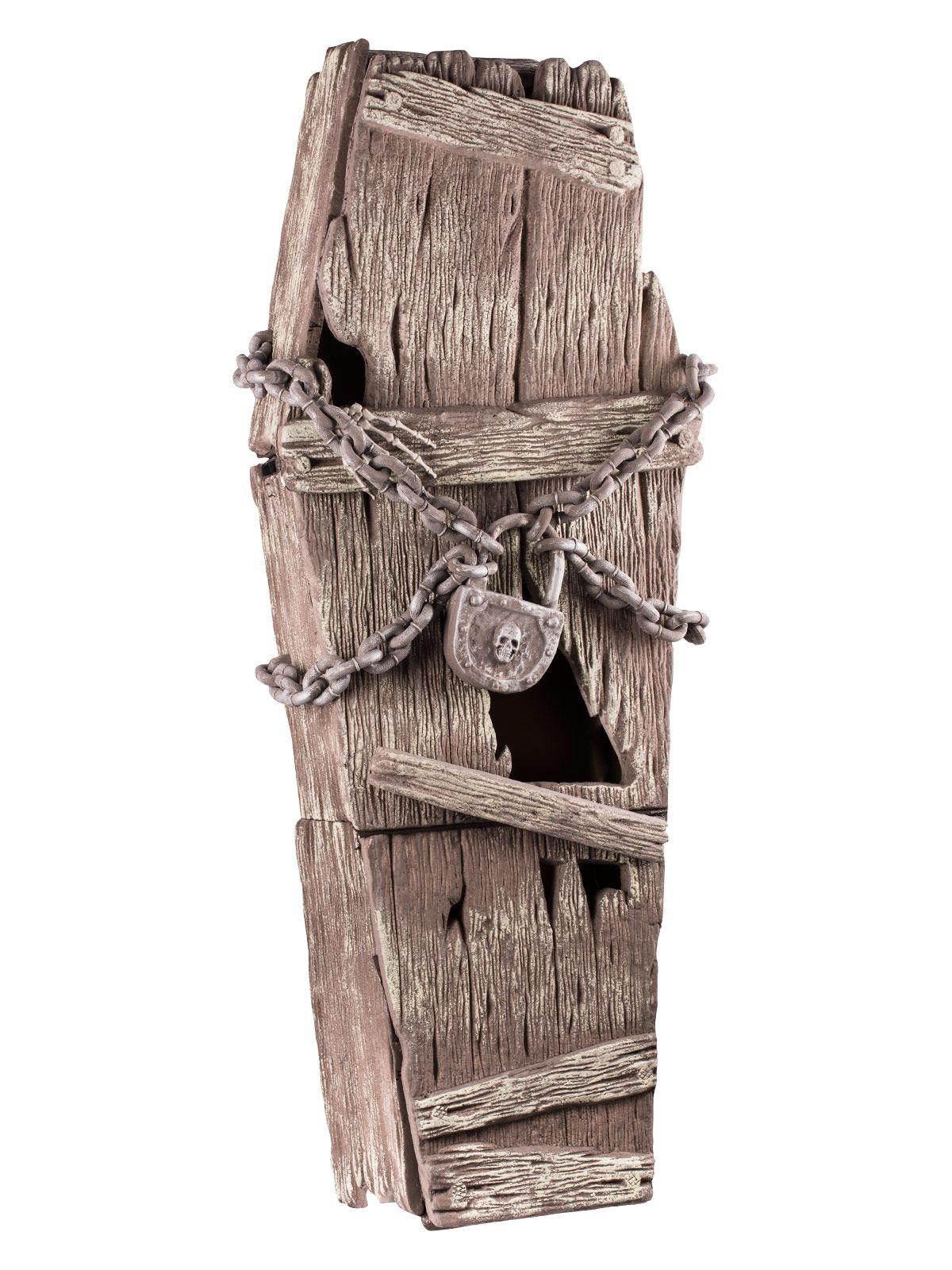 sarg deckel mit ketten halloween party deko braun 39x150cm g nstige faschings partydeko. Black Bedroom Furniture Sets. Home Design Ideas