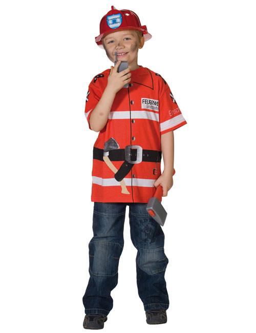 Spieleshirt T Shirt Feuerwehrmann Rot Weiss Gunstige Faschings
