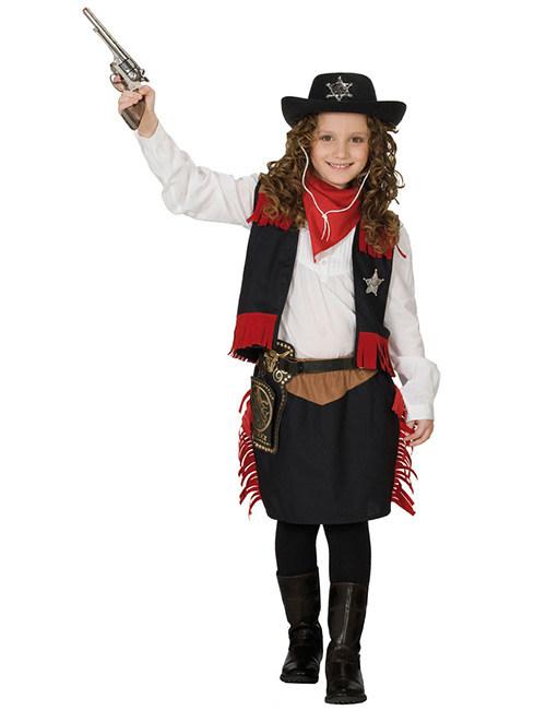 Cowgirl Kinderkostum Western Schwarz Rot Braun Gunstige Faschings