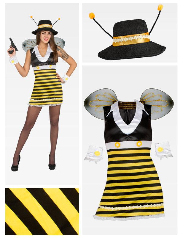 heisse biene damenkost m gelb schwarz weiss g nstige. Black Bedroom Furniture Sets. Home Design Ideas