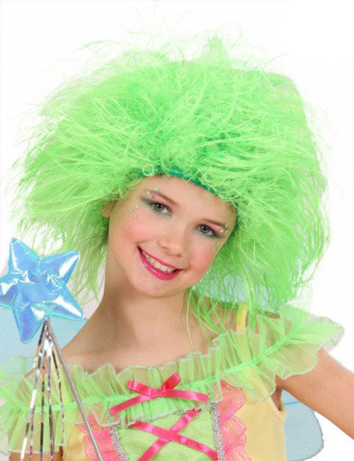 Wuschelkopf Kinder Perucke Neon Grun Gunstige Faschings