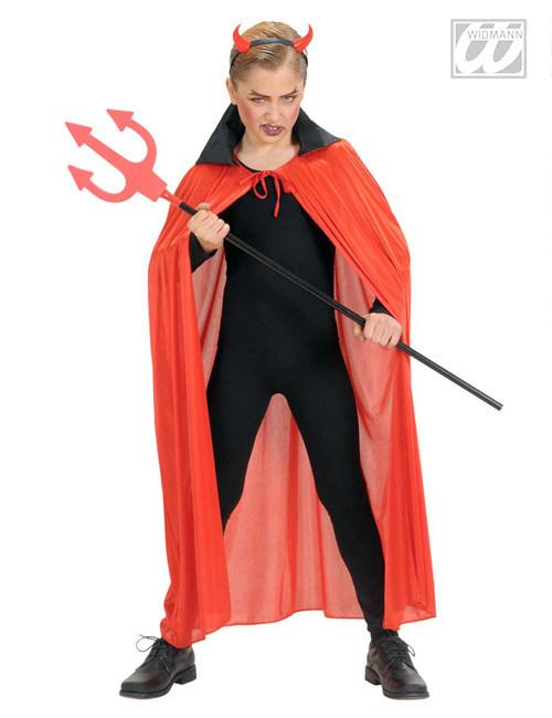 Teufel Halloween Kinder Umhang Mit Satin Kragen Rot Schwarz