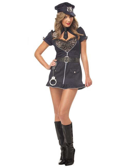 Sexy Polizistin Damen Kostum Dunkelblau Schwarz Silber Gunstige