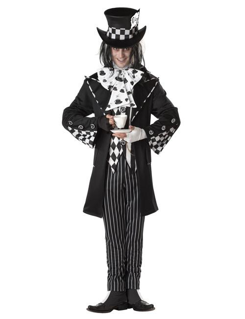 Dunkler Clown Halloweenkostum Hutmacher Schwarz Weiss Gunstige