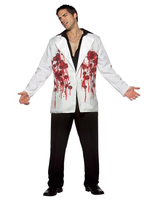 halloween blazer mit einschussl chern weiss rot g nstige faschings kost me bei karneval megastore. Black Bedroom Furniture Sets. Home Design Ideas