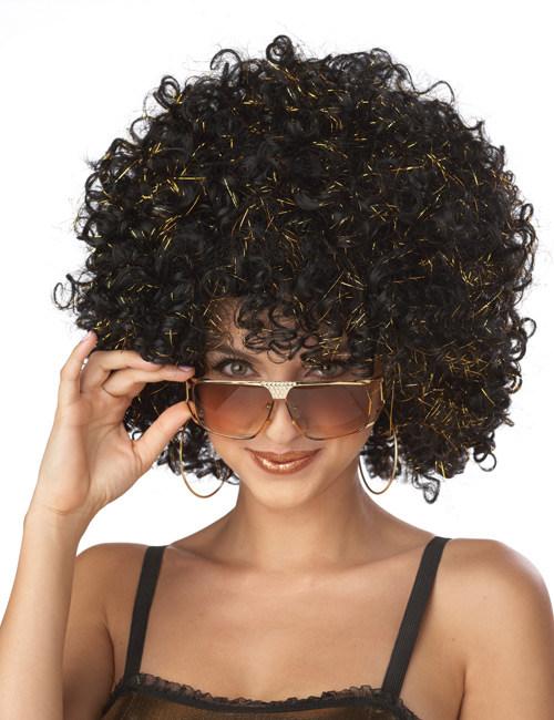 schön in der Farbe günstig kaufen große sorten Disco Minipli Perücke schwarz-gold
