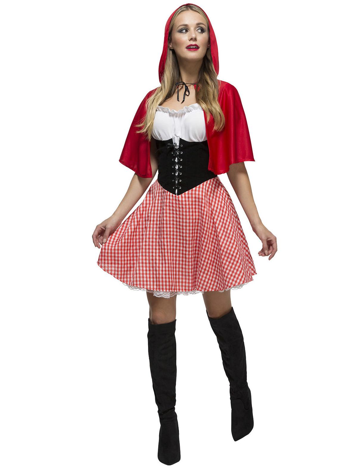 Rotkappchen Damenkostum Marchen Rot Weiss Schwarz Gunstige