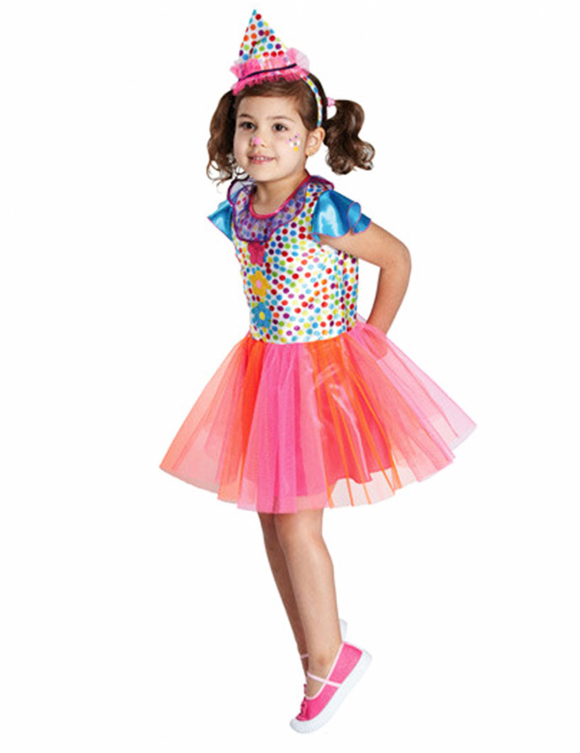 Clown Madchen Kinderkostum Pink Orange Blau Gunstige Faschings