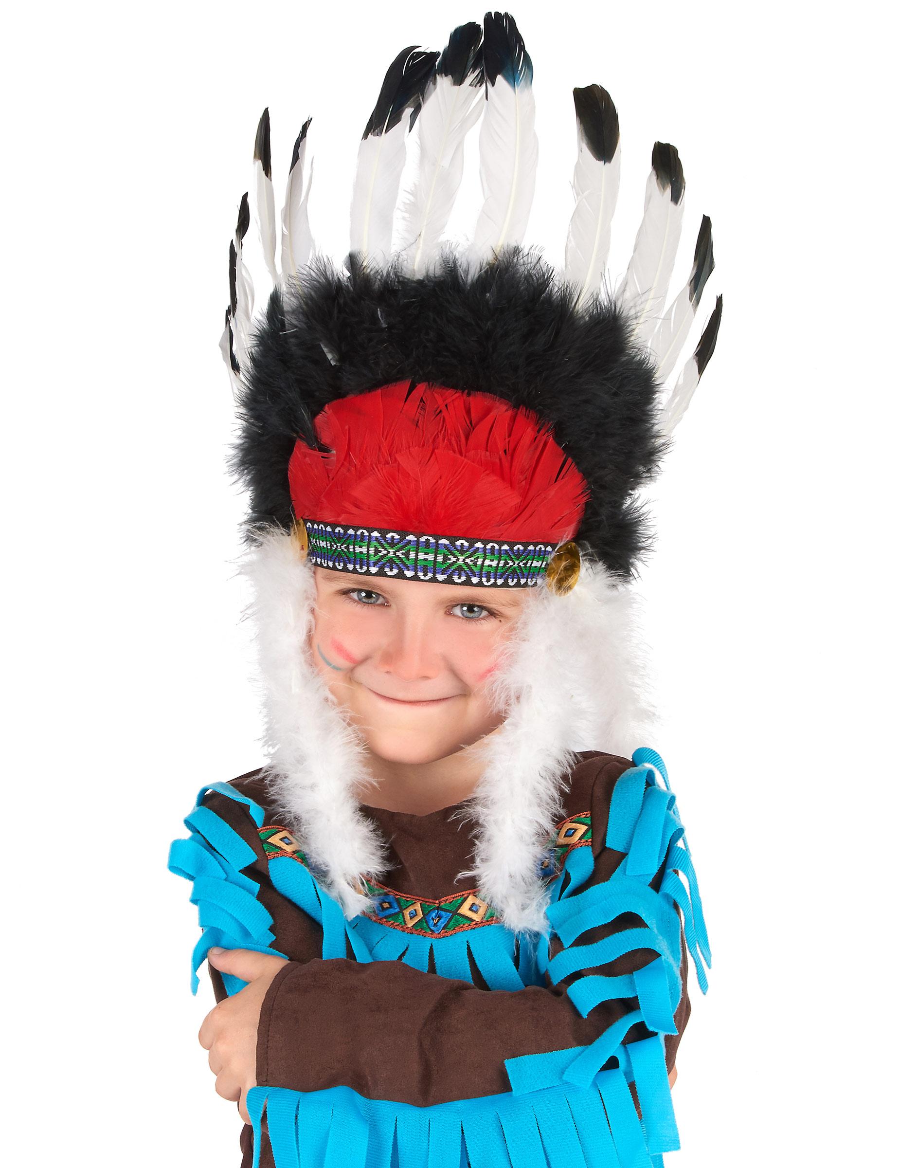 indianer h uptling kopfschmuck federschmuck f r kinder weiss schwarz rot g nstige faschings. Black Bedroom Furniture Sets. Home Design Ideas