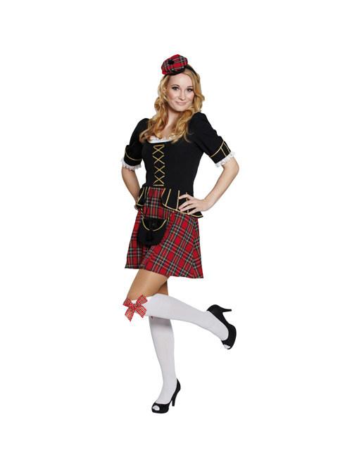 Karneval Klamotten Kostüm Schottenrock rot kariert Dame Karneval Damenkostüm